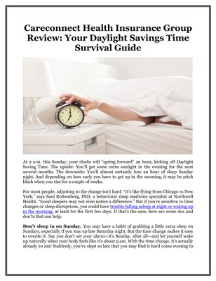 Careconnect Health Insurance Group Review: Your Daylight Savings Time Survival Guide