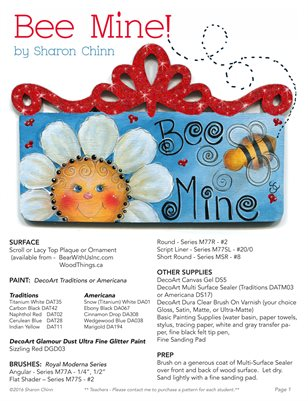 Bee Mine Painting Pattern by Sharon Chinn - SC16006