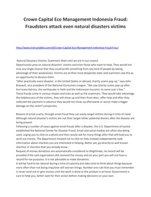 Crown Capital Eco Management Indonesia Fraud: Fraudsters attack even natural disasters victims