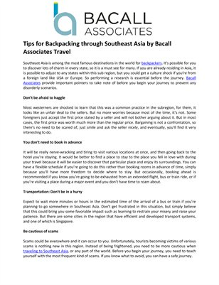 Tips for Backpacking through Southeast Asia by Bacall Associates Travel