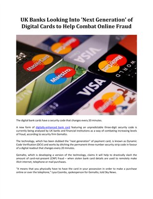 UK Banks Looking Into 'Next Generation' of Digital Cards to Help Combat Online Fraud