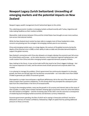NEWPORT LEGACY ZURICH SWITZERLAND: UNRAVELLING OF EMERGING MARKETS AND THE POTENTIAL IMPACTS ON NEW ZEALAND