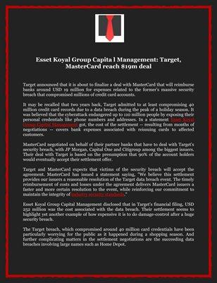 Esset Koyal Group Capital Management: Target, MasterCard reach $19m deal