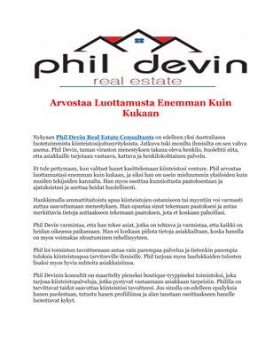 Phil Devin Real Estate: Arvostaa Luottamusta Enemman Kuin Kukaan
