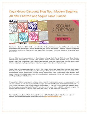 Koyal Group Discounts Blog Tips | Modern Elegance: All New Chevron And Sequin Table Runners