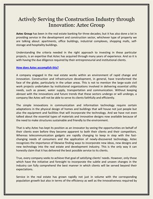 Actively Serving the Construction Industry through Innovation: Aztec Group