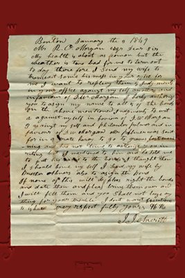 1849 LETTER FROM J.J. AVERITT TO R.O. MORGAN, BENTON, MARSHALL COUNTY, KENTUCKY