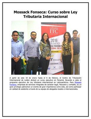 Mossack Fonseca: Curso sobre Ley Tributaria Internacional