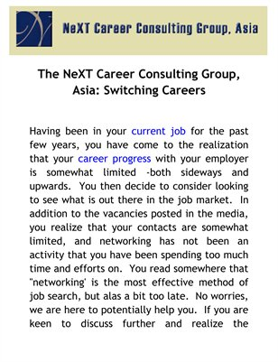 The NeXT Career Consulting Group, Asia: Switching Careers
