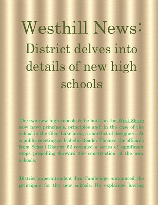 Westhill News: District delves into details of new high schools