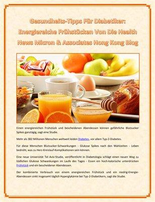 Gesundheits-Tipps Für Diabetiker: Energiereiche Frühstücken Von Die Health News Micron & Associates Hong Kong Blog