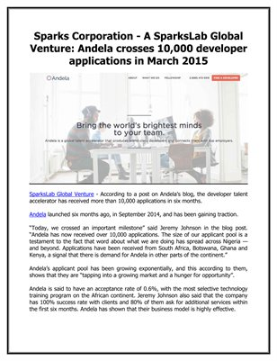 Sparks Corporation - A SparksLab Global Venture: Andela crosses 10,000 developer applications in March 2015