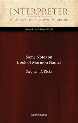 Some Notes on Book of Mormon Names