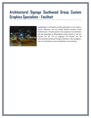 Architectural Signage Southwood Group Custom Graphics Specialists - Faciliteit