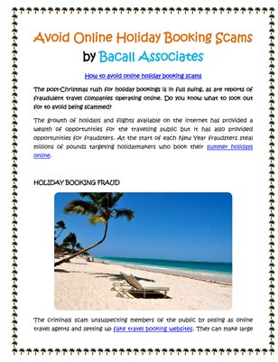 Avoid Online Holiday Booking Scams by Bacall Associates