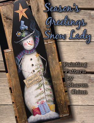 Season's Greeting Snow Lady - Large Ironing Board - Sharon Chinn
