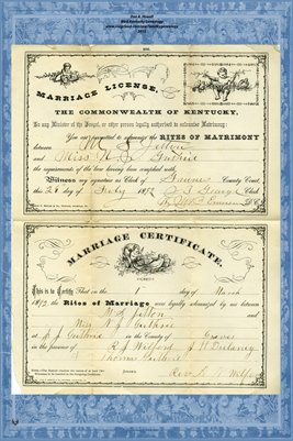 1892 Marriage License and Certificate for M.S. Jetton and Miss N.J. Guthrie, Graves County, Kentucky