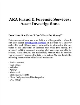 ARA Fraud & Forensic Services: Asset Investigations
