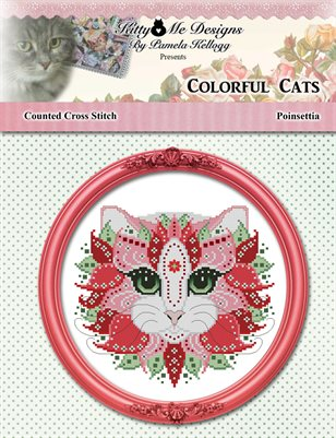 Colorful Cats Poinsettia Counted Cross Stitch Pattern