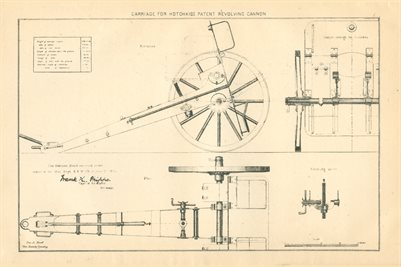 1877 CARRIAGE FOR HOTCHKISS PATENT REVOLVING CANNON