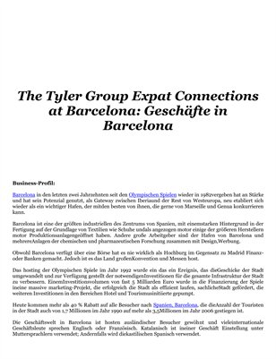 The Tyler Group Expat Connections at Barcelona: Business in Barcelona