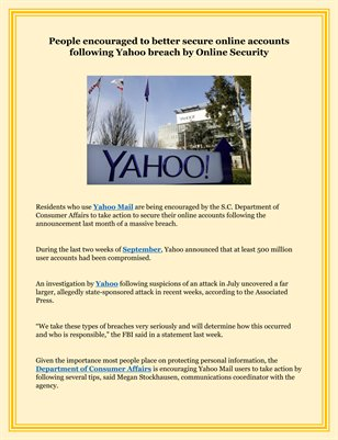 People encouraged to better secure online accounts following Yahoo breach by Online Security