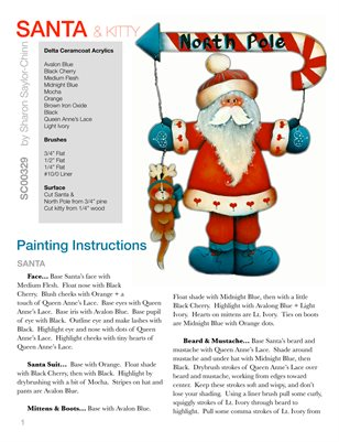 Santa and Kitty Painting Pattern Tutorial by Sharon Saylor-Chinn - SC00329