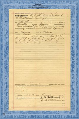 1907, Warranty Deed, N.B. & Sarah Thistlwood to Albert Spence, Pulaski Co., IL.