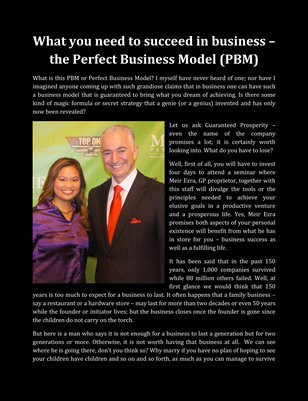 What you need to succeed in business – the Perfect Business Model (PBM)