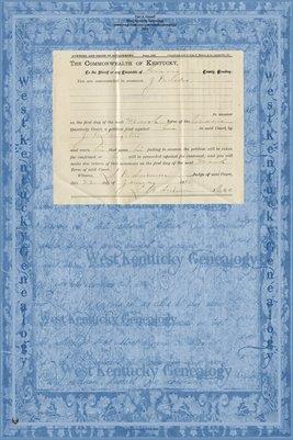 1891 Langston Vs. Kelso, Graves County, Kentucky