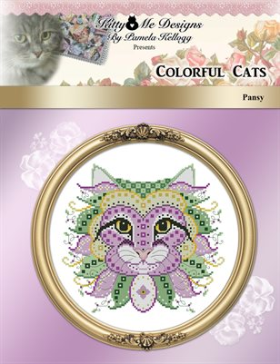 Colorful Cats Pansy Counted Cross Stitch Pattern