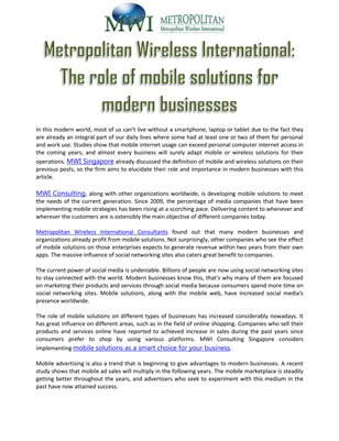 Metropolitan Wireless International: The role of mobile solutions for modern businesses