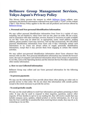 Bellmore Group Management Services, Tokyo Japan's Privacy Policy
