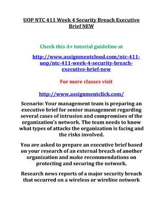 UOP NTC 411 Week 4 Security Breach Executive Brief NEW