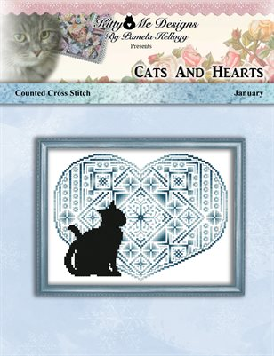 Cats And Hearts January Cross Stitch Pattern