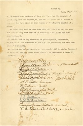 1913 LETTER OF RECOMMENDATION OF W.J. ELLIS, HARDIN, MARSHALL COUNTY, KENTUCKY
