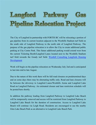 Langford Parkway Gas Pipeline Relocation Project