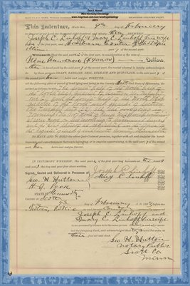 No. 6238 1893 Quit-Claim Deed Joseph C. Linhoff and wife to Barbara Conter, Scott County, Minnesota