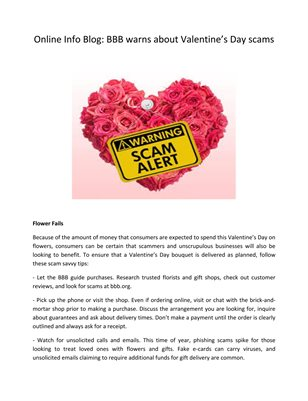 Online Info Blog: BBB warns about Valentine's Day scams