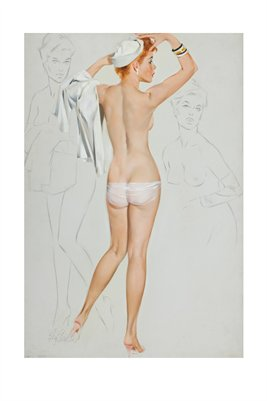 Nude with Hat-Study