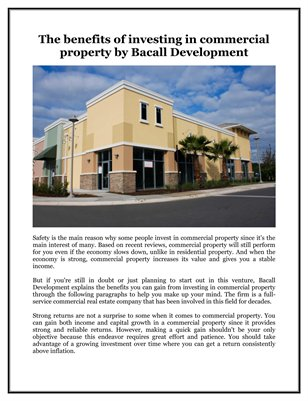 The benefits of investing in commercial property by Bacall Development