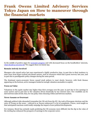 Frank Owens Limited Advisory Services Tokyo Japan on How to maneuver through the financial markets