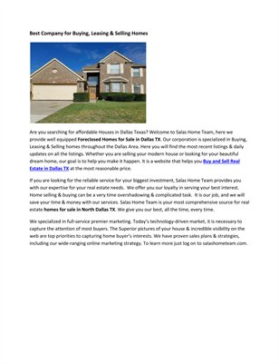 Foreclosed Homes Dallas Tx