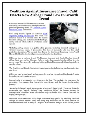 Coalition Against Insurance Fraud: Calif. Enacts New Airbag Fraud Law In Growth Trend