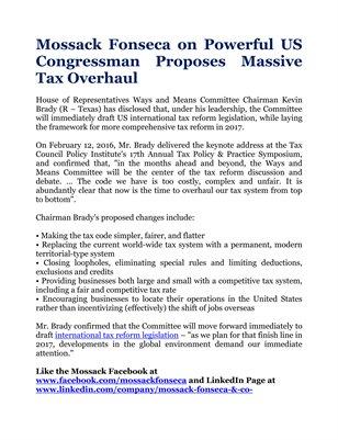 Mossack Fonseca on Powerful US Congressman Proposes Massive Tax Overhaul