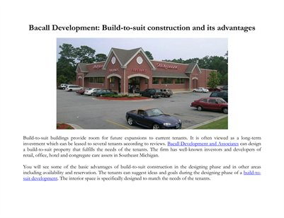 Bacall Development: Build-to-suit construction and its advantages