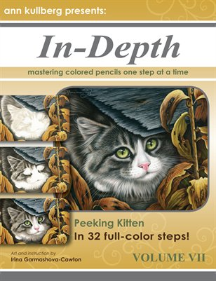 Colored Pencil Peeking Kitten in 32 Steps!