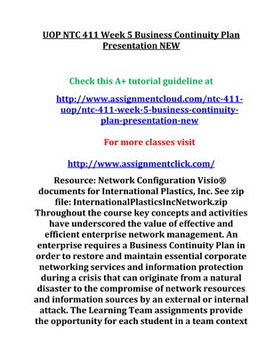 UOP NTC 411 Week 5 Business Continuity Plan Presentation NEW