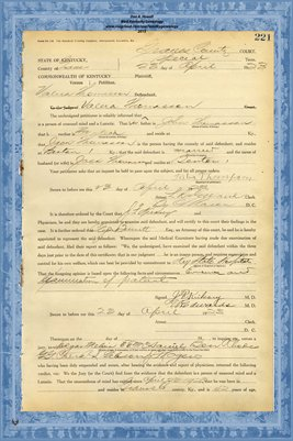 1923 State of Kentucky vs. Valera Thomasson, Graves County, Kentucky