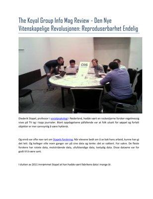 The Koyal Group Info Mag Review - Den Nye Vitenskapelige Revolusjonen: Reproduserbarhet Endelig